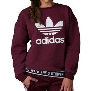 NWOT Adidas Trefoil Crew Neck Sweatshirt Maroon S